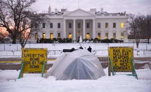 The anti-nuclear-proliferation vigil stationed along Pennsylvania Avenue on the edge of Lafayette Square Park is maintained across from the White House in Washington, Tuesday, Jan. 26, 2016. Concepcion Picciotto, the protester who maintained a peace vigil for more than three decades died Monday, Jan. 25, 2016. (AP Photo/Carolyn Kaster)